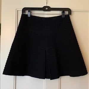 Black theory cotton skirt with pleating detail